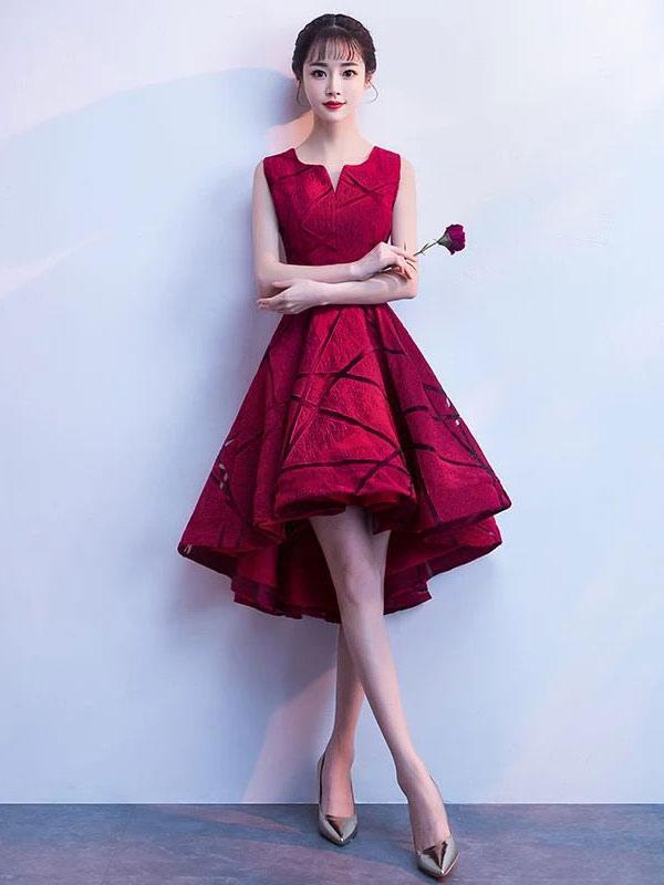 Calidad Color Sin De Vestido Borgoña Cóctel Alta Cortos Graduación Encaje Vestidos Mangas Igyfv6Yb7m