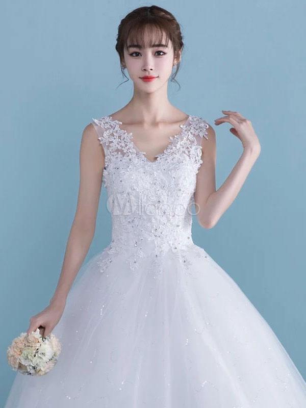 2a3526f05d9 ... White Wedding Dresses Princess Ball Gowns Lace Applique V Neck Floor  Length Bridal Dress-No