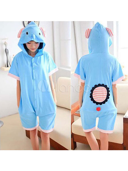 927be80fc7 Elephant Pajamas Onesie Kigurumi Blue Short Jumpsuits Summer Animal  Sleepwear For Adults-No.1