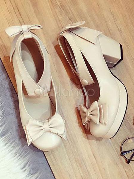 Sweet Lolita Pumps Bow Tobillera Strap Platform Chunky Heel Lolita Shoes x7AGZ3xd