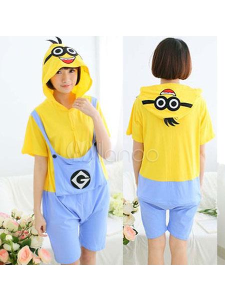 buy online 393e7 2ec3d Kigurumi Pigiama Minions Onesie Yellow Short Jumpsuit Summer Animal  Sleepwear Per Adulti