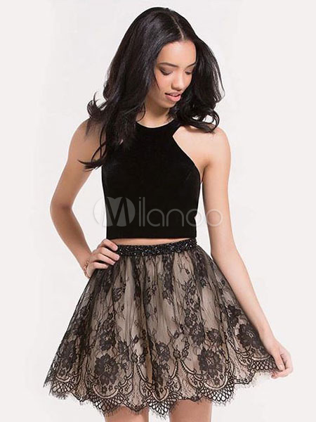 bd4c1014d25fb Short Prom Dresses Crop Top Black Lace Halter Two Piece Cute Homecoming  Dress-No.