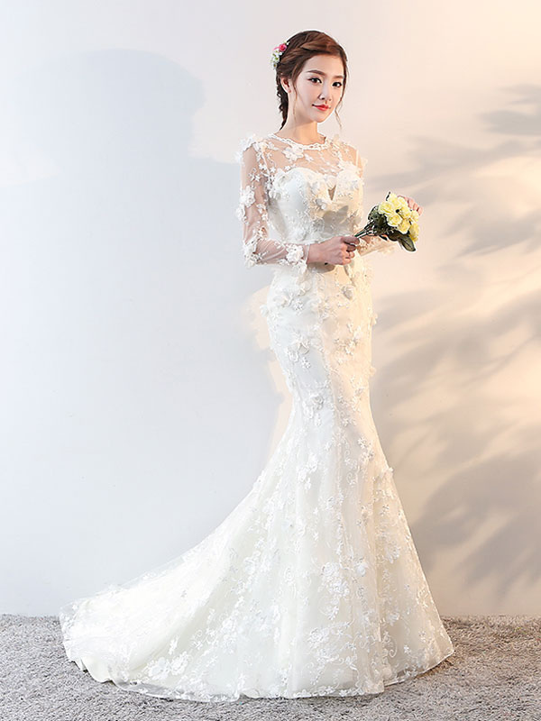 Wedding Dresses Long Sleeve Mermaid Flowers Applique Bows Ivory Bridal Dress With Train