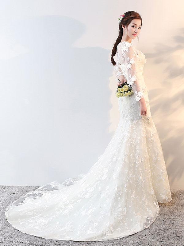 1b28685e1310 ... Abiti da sposa maniche lunghe sirena fiori applique fiocchi abito da  sposa avorio con il treno ...