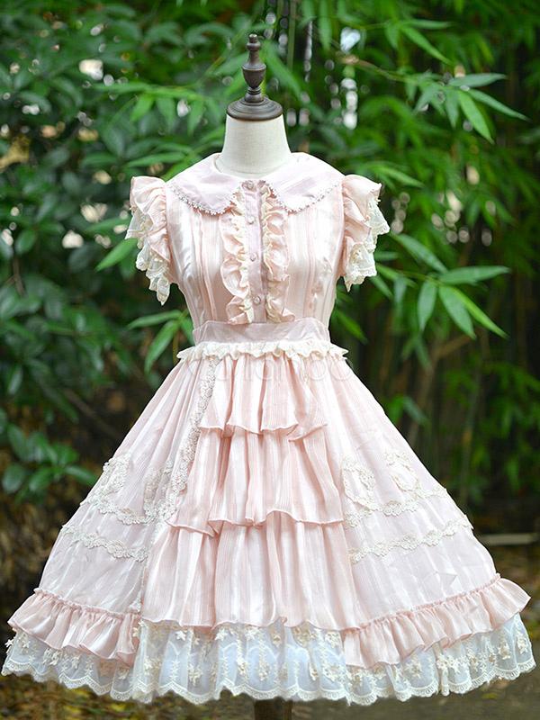 e965aaab9f40 Sweet Lolita Dress OP Star Guard Lace Trim Ruffle Pleated Chiffon Pink  Lolita One Piece Dress ...
