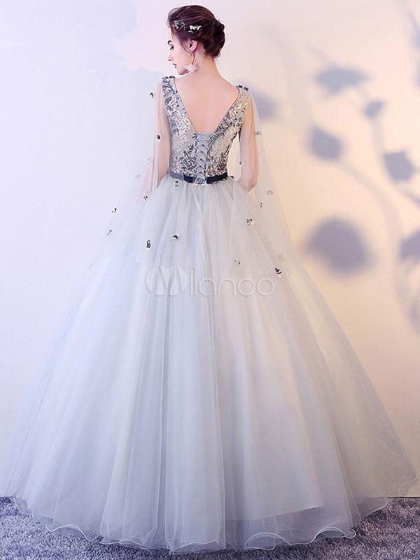 Abiti Da Cerimonia Quinceanera.Prom Dresses Light Gray V Neck Quinceanera Dresses Tulle Flowers