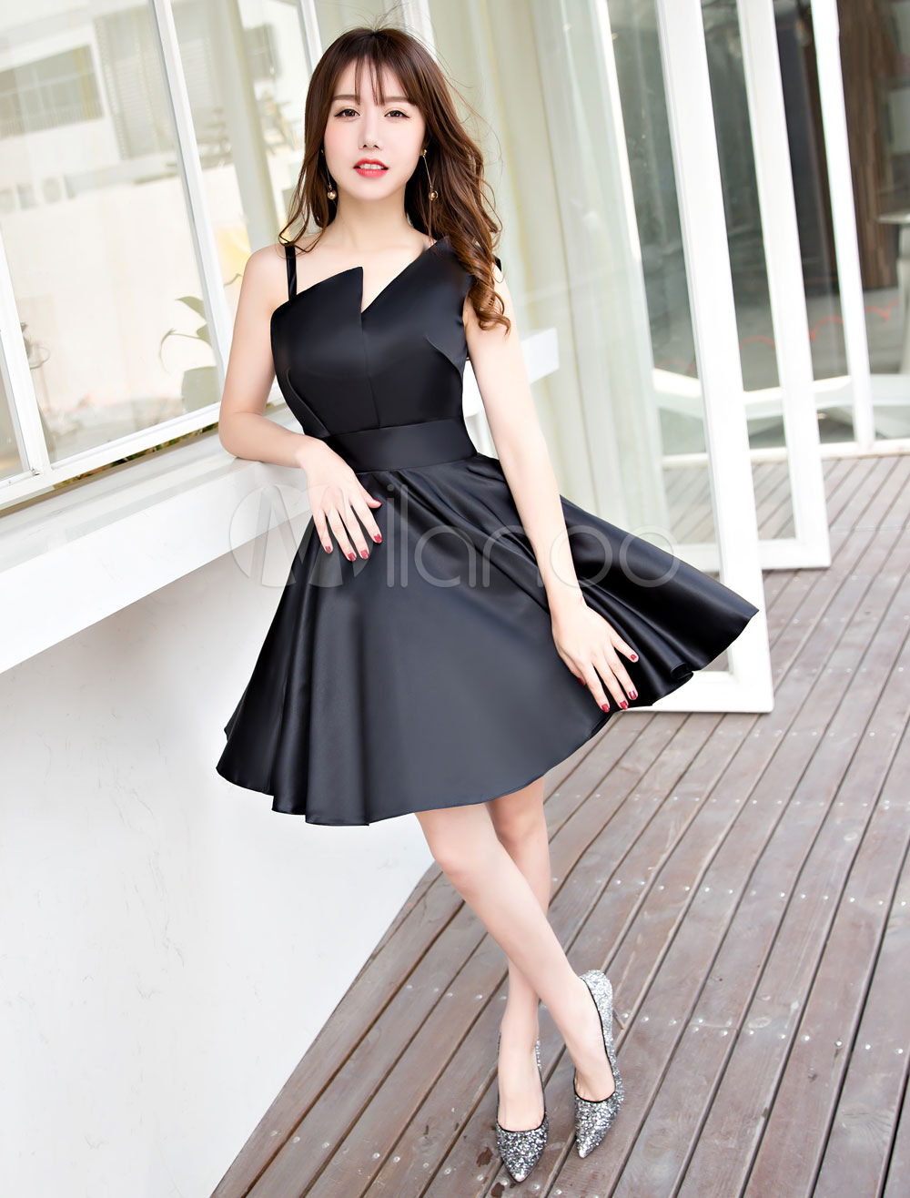 56b52a77a3668 Little Black Dresses Satin A Line Asymmetrical Neckline Short ...