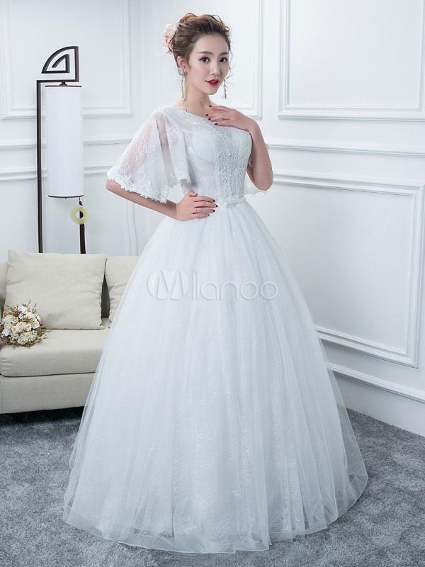 disfruta del precio inferior el más baratas diseño elegante Vestidos de novia de la princesa Ball Vestido blanco de la longitud del  piso de la manga de la mitad del vestido
