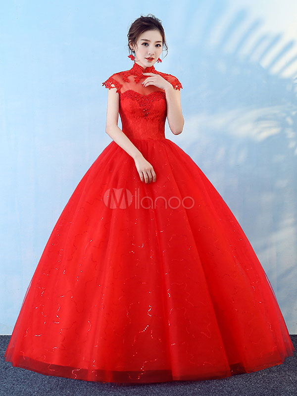 Princesse Robes De Mariee Robe De Bal Rouge Dentelle Perles Stand Longueur De Plancher Robe De Mariee