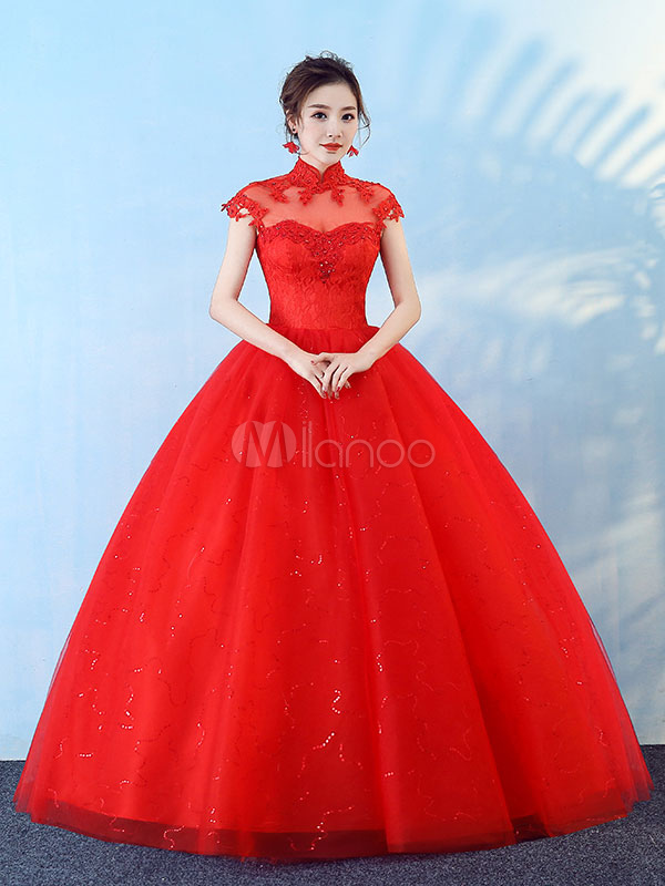 Princess Wedding Dresses Ball Gown Red Lace Beading Stand Collar Floor Length Bridal Dress