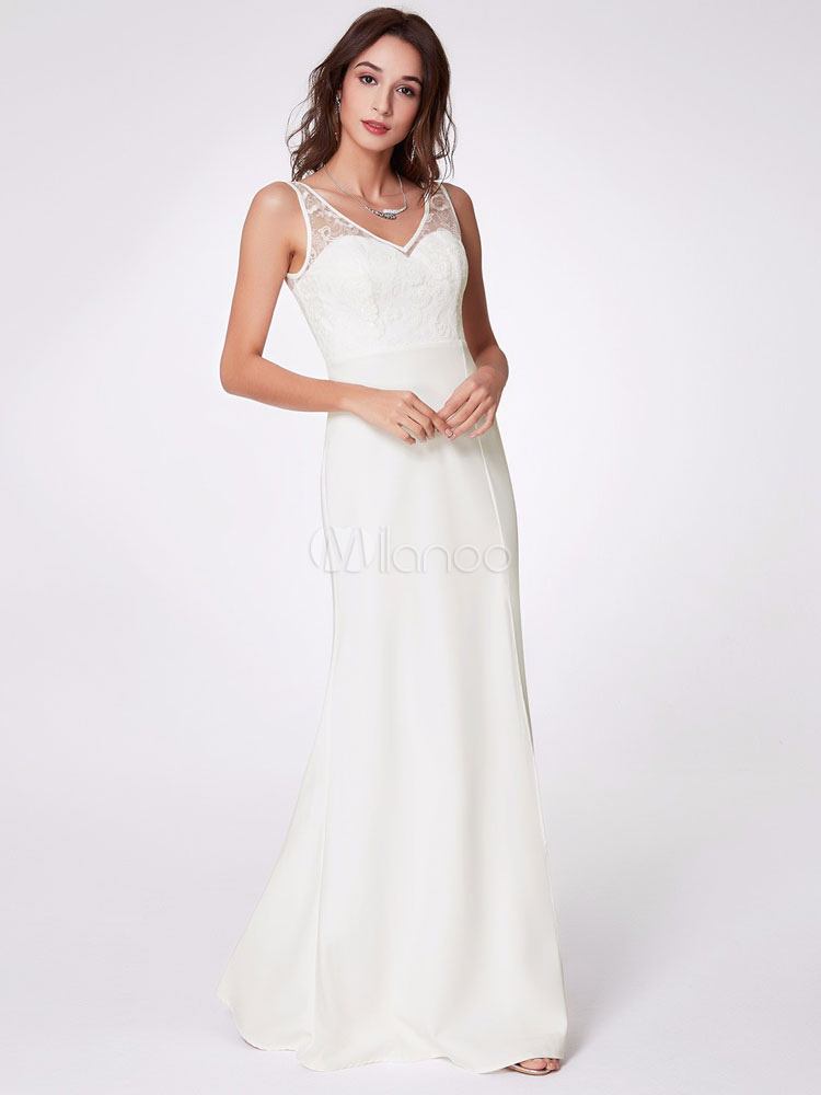 c9b94527 Mermaid Prom Dresses Long White Lace Chiffon Sequin Maxi Formal Evening  Dress-No.1 ...
