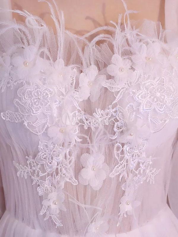Vestidos de novia blanco flores de media manga moldeado vestido de ...