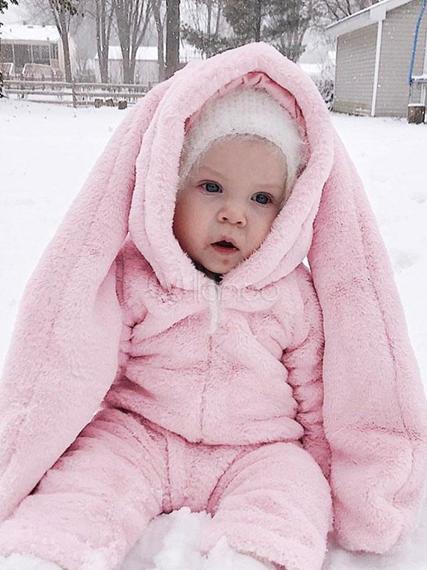 Costume de lapin bébé rose grande oreille flanelle animaux tout,petits  Combinaisons Halloween,No