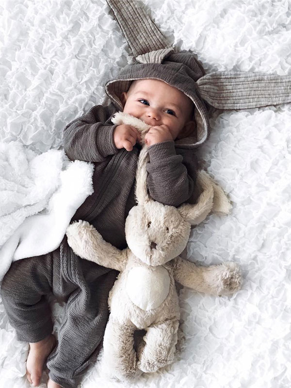 Bébé Bunny Costume Halloween Gris Animaux Toddler Flanelle