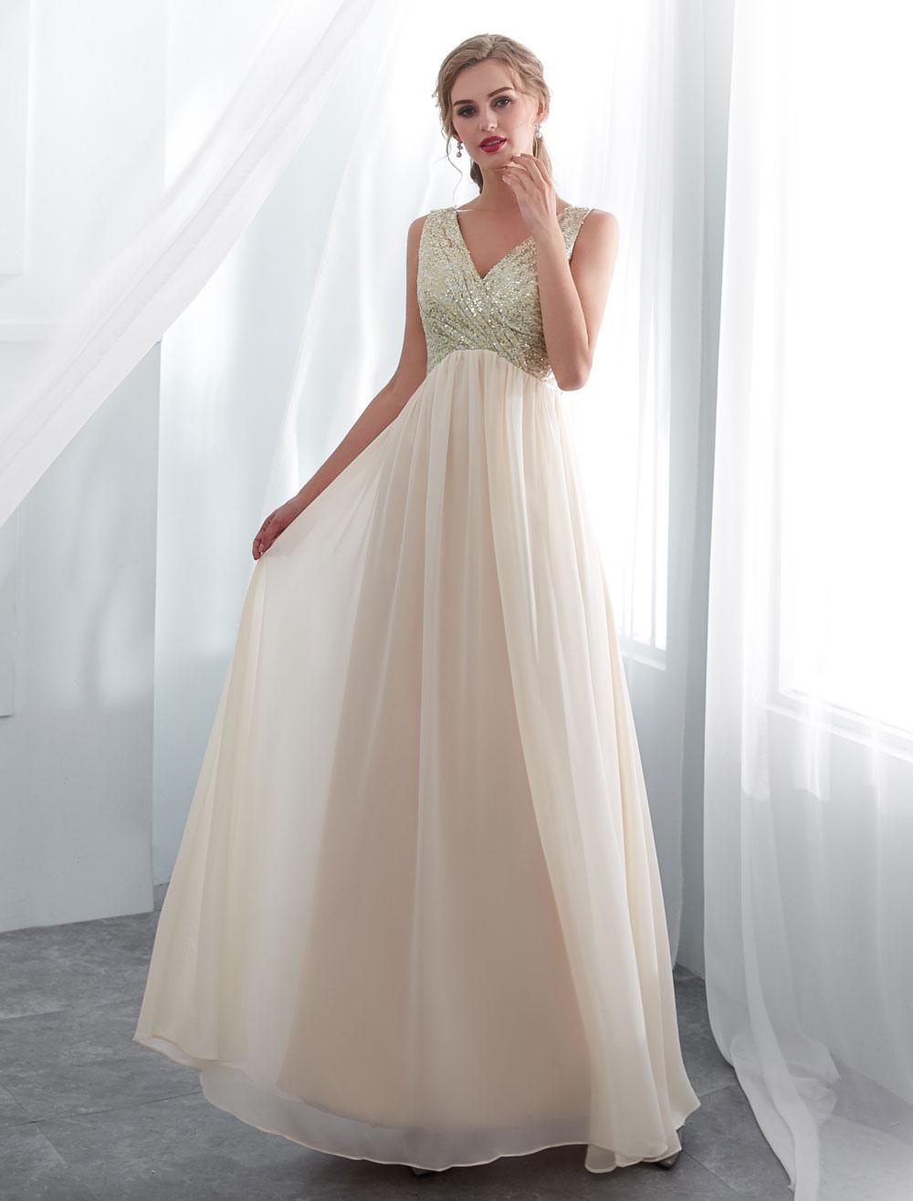 Prom Dresses Long Champagne Bridesmaid Dress Sequin Chiffon Maxi Formal Dress