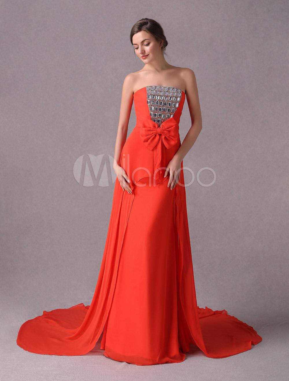 Abendkleider liebsten perlen strass b gen chiffon langes abendkleid mit zug - Milanoo abendkleider ...