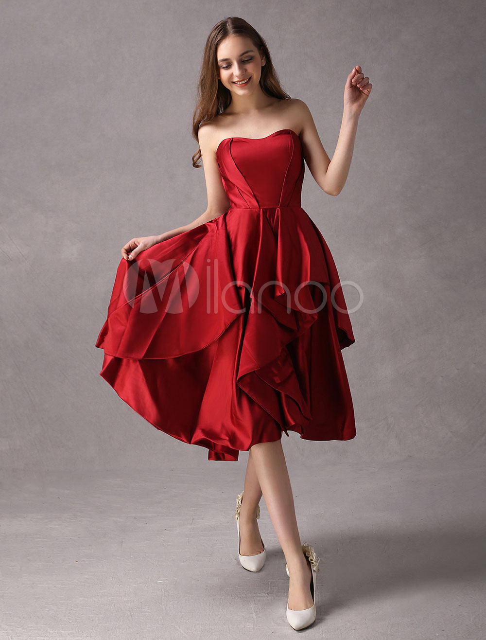 Strapless Tea-Length Cocktail Dress