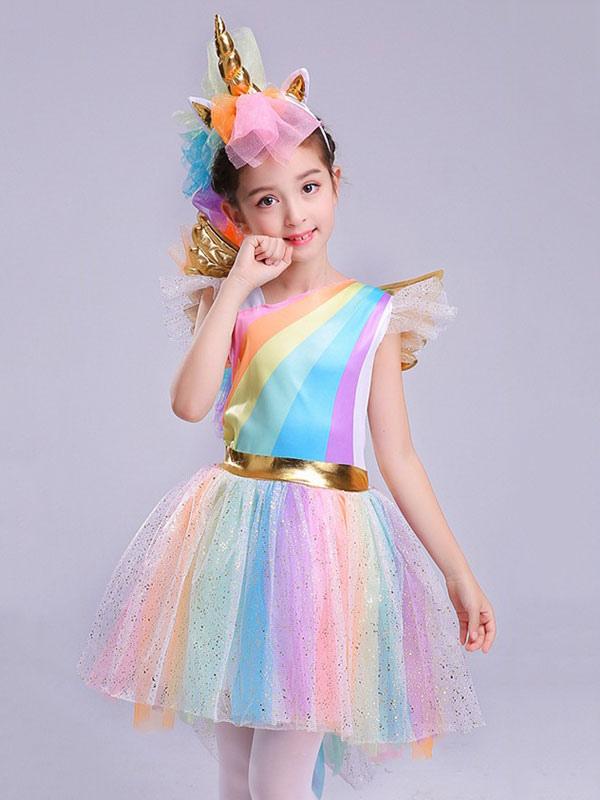 9ebc7f56af47 Unicorn Costume Halloween Girls Rainbow Pink Dresses - Milanoo.com