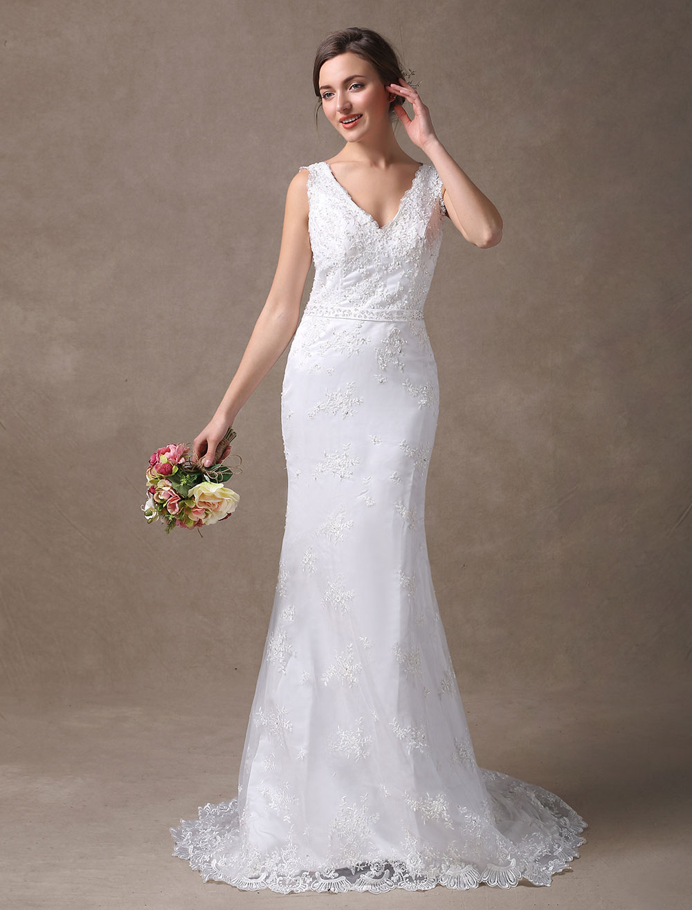 Buy White Wedding Dresses Mermaid V Neck Lace Applique Beaded Bridal Dress With Train for $174.24 in Milanoo store