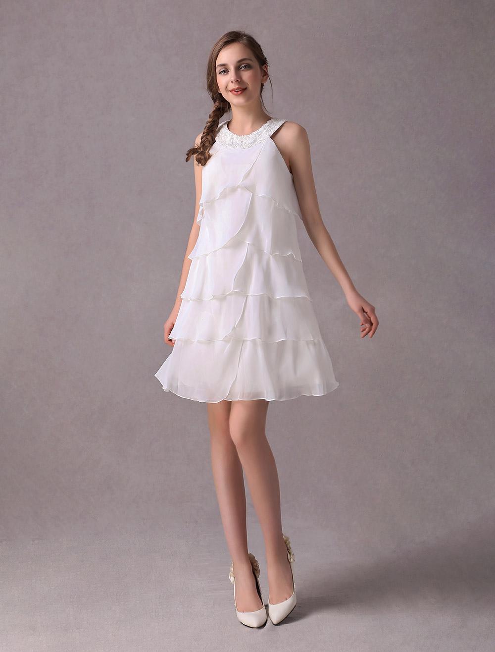 e73e327949f Short Wedding Dresses Ivory Chiffon Cocktail Party Dress Beaded ...
