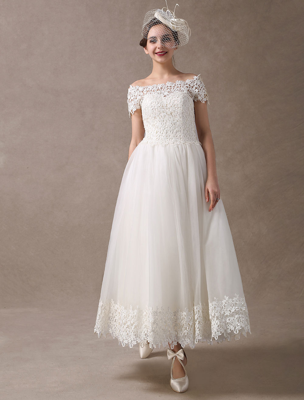 3a7324adff4 Vintage Wedding Dresses 1950s Off The Shoulder Ivory Lace Short ...