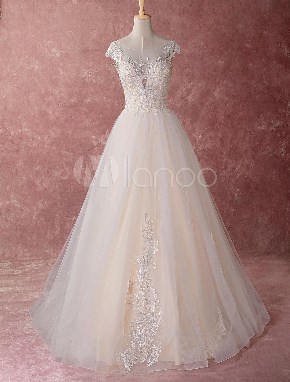 Farbige Brautkleider Champagne Princess Ballkleider Tüll Applique  Bodenlangen Luxus Brautkleid