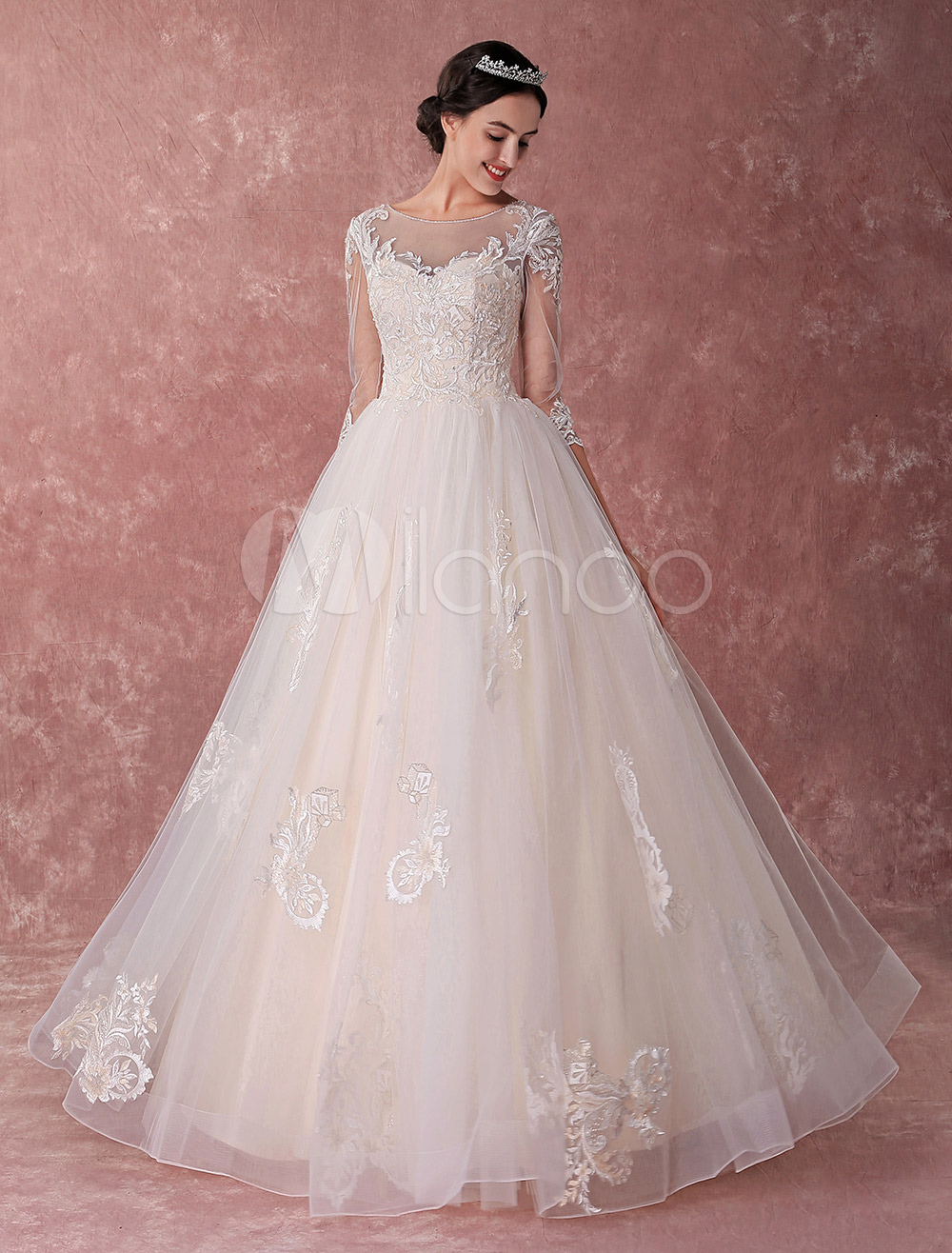 1e2194677b7 Champagne Wedding Dresses Princess Ball Gown Bridal Dress Lace Tulle ...