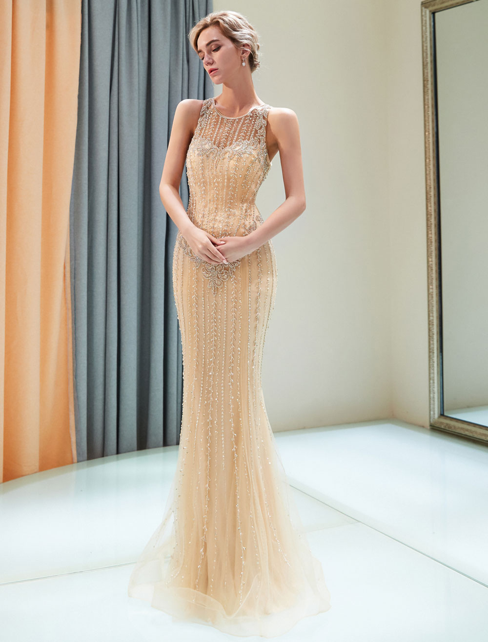 5783c08927b ... Luxury Evening Dresses Mermaid Beading Light Gold Formal Gowns -No.8.  12. 45%OFF. Color Light Gold