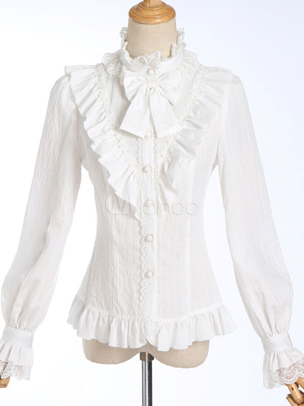 san francisco 3057f a2ac8 Camicia Lolita classica con fiocco in pizzo con volant Lolita bianca