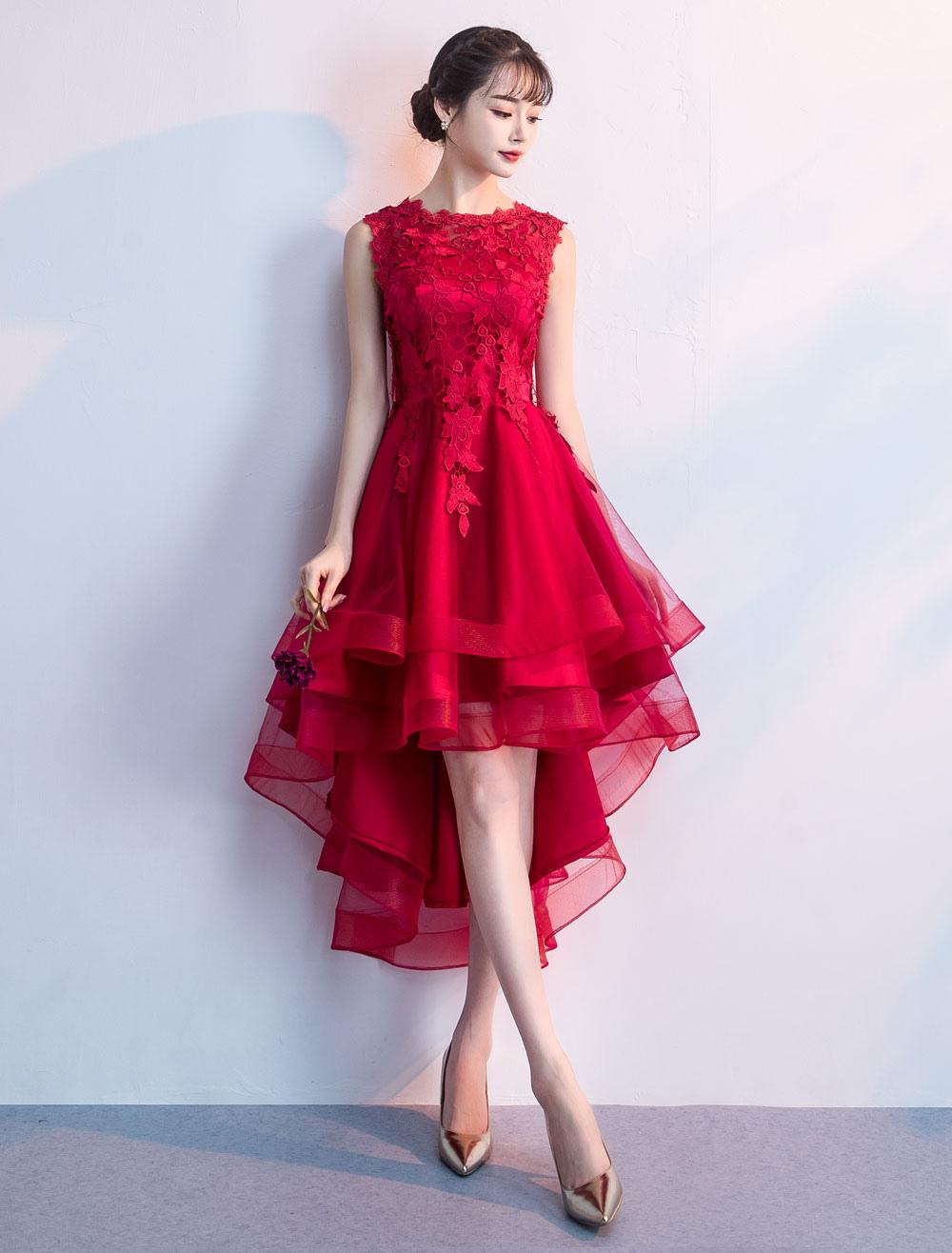1de29a85f7fb9 Cocktail Party Dresses Red High Low Prom Dress Lace Applique ...