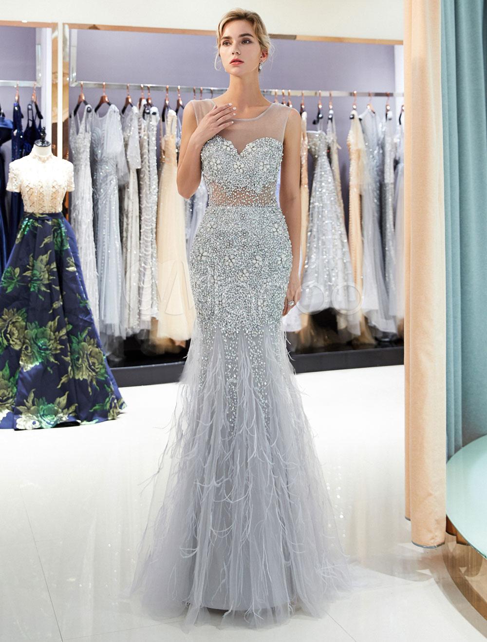 e452f0240055 Luxury Prom Dresses Light Grey Sequin Beading Illusion Sleeveless ...