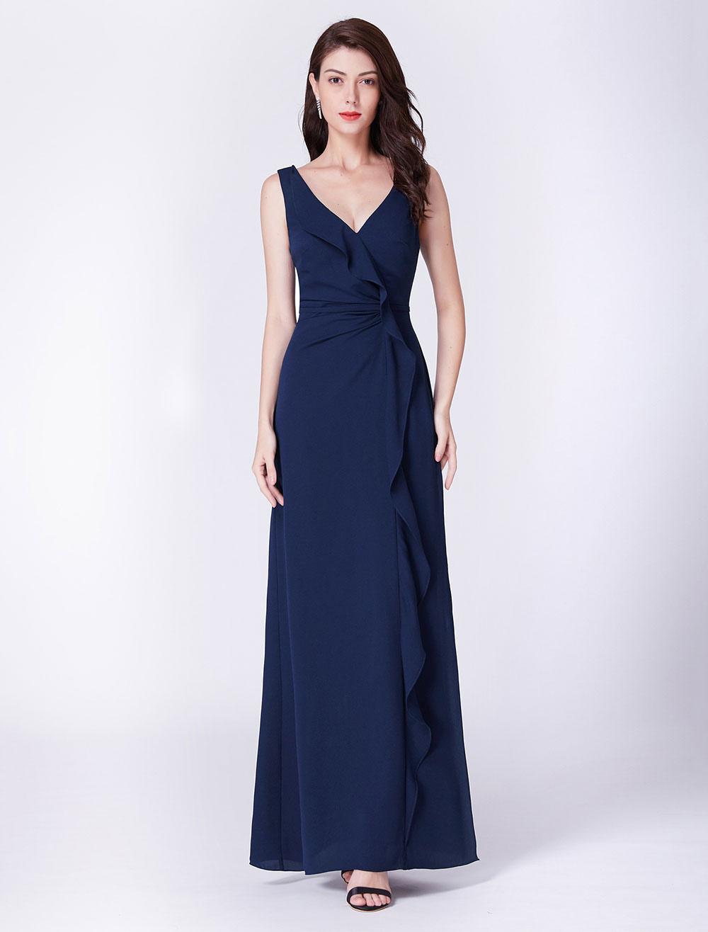 bridesmaid dresses dark navy prom dress chiffon long cascading ruffles v  neck floor length formal dress
