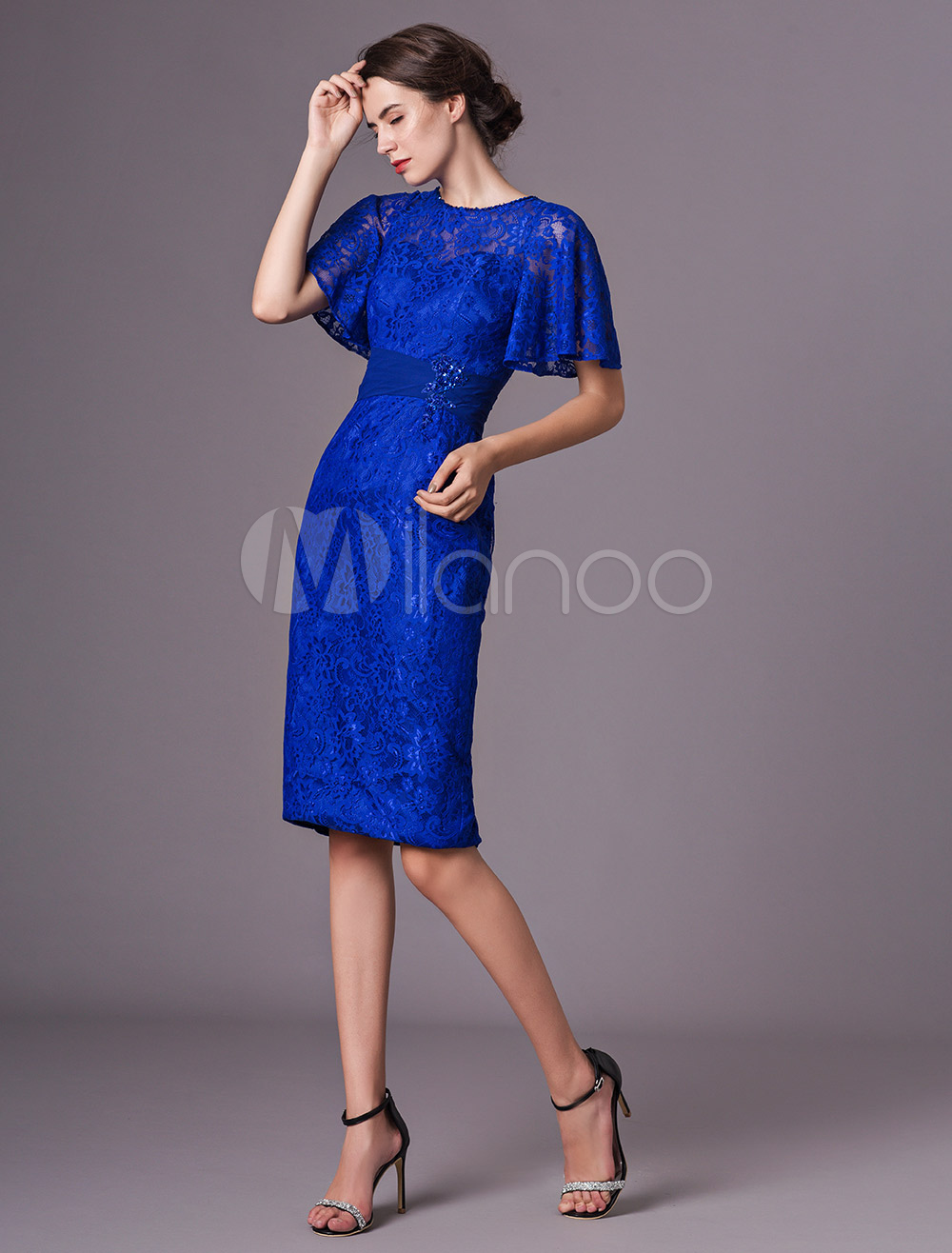 Mother Of The Bride Dresses Lace Short Royal Blue Cocktail Dress Sheath Keyhole Knee Length Wedding Guest Dress