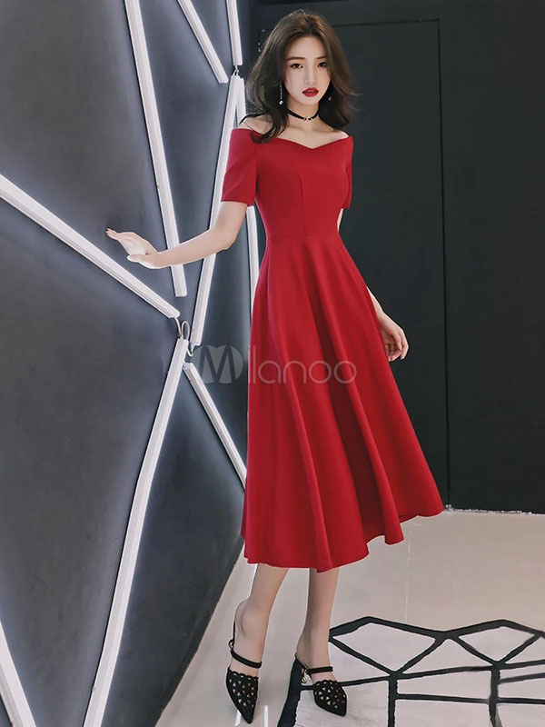 Red Cocktail Dresses Short Sleeve A Line Tea Length Wedding Guest Dress