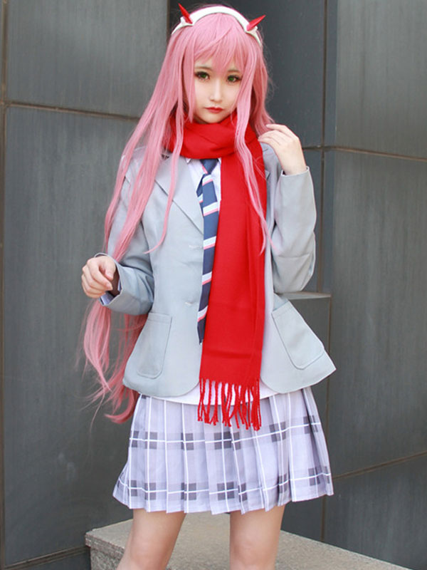 63612d300bd Darling In The FranXX Code 002 Zero Two School Girl Uniform Halloween  Cosplay Costume-No ...