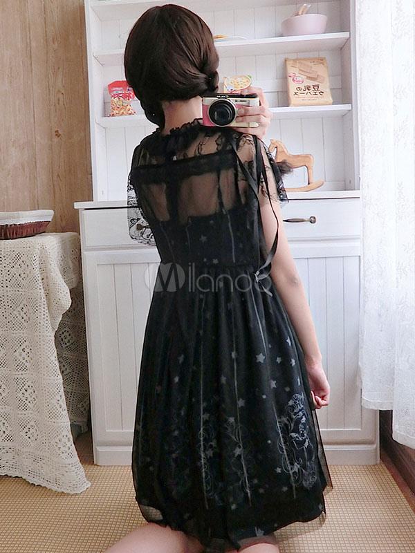 3da0d3be1e ... Sweet Lolita OP Dress Starry Night Angel Lace Pleated Black Lolita One  Piece Dress-No