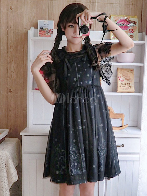 357bb466a30 Sweet Lolita OP Dress Starry Night Angel Lace Pleated Black Lolita One  Piece Dress-No ...