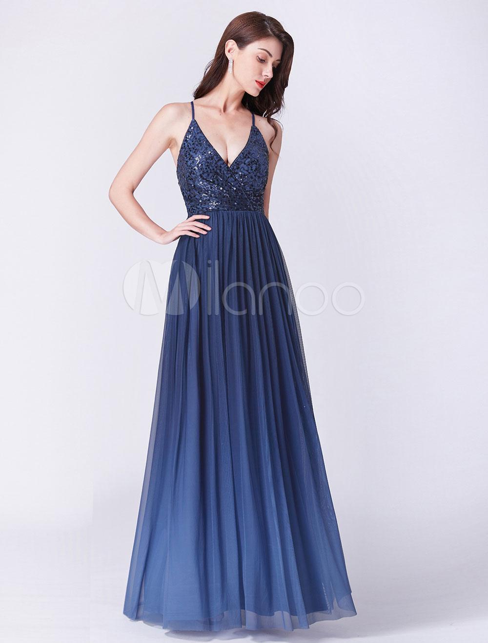 00e6feac153c5 Bridesmaid Dresses Long Royal Blue Prom Dress Sequin Chiffon Straps ...