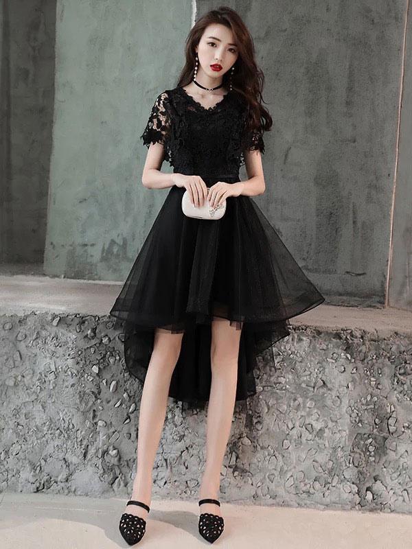 e97bb369ce0 ... Short Prom Dresses Burgundy V Neck Lace Tulle Asymmetrical Graduation  Party Dress-No.6 ...