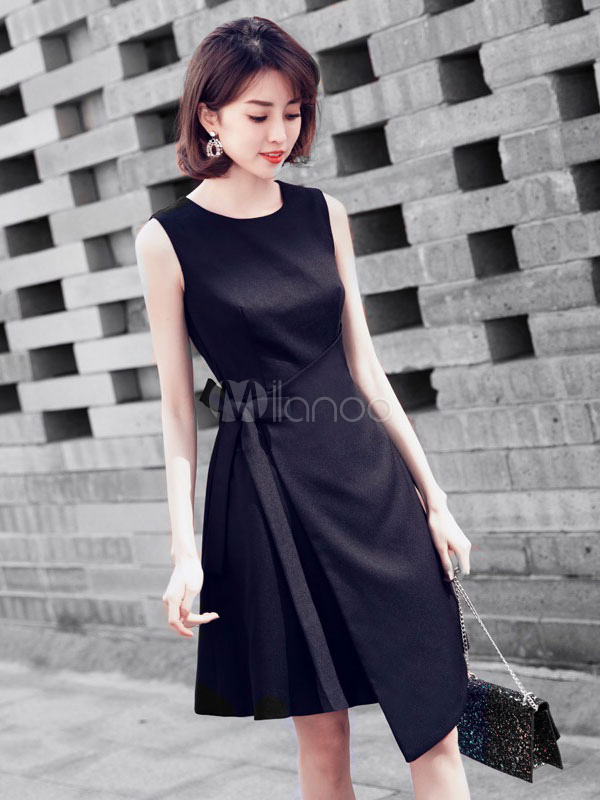 Little Black Dress Short Bow Sleeveless Wedding Guest Dress