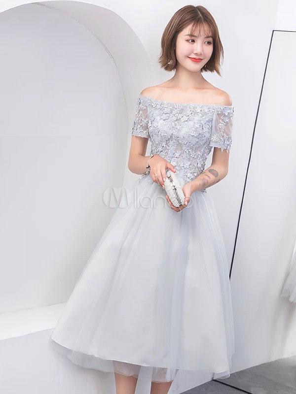 Grey Prom Dresses Off Shoulder Lace Tulle Tea Length Gradation Party