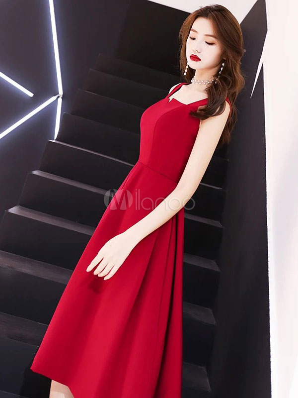 ac0dd61f908 ... Cocktail Party Dresses Burgundy Straps Knee Length Satin Wedding Guest  Dress-No.4 ...
