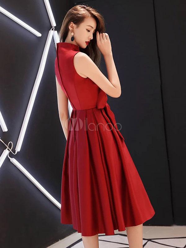 5acd239494 Burgundy Cocktail Dresses Satin Stand Collar A Line Tea Length Wedding  Guest Dress-No.