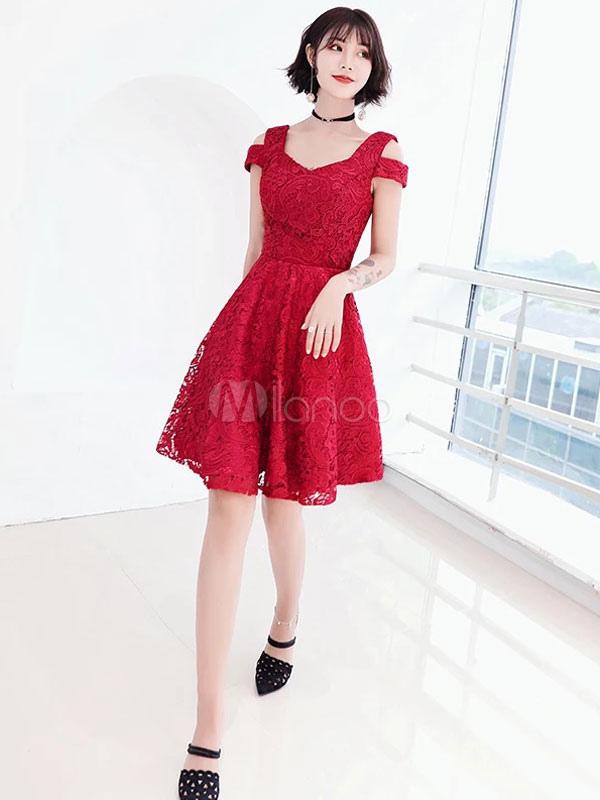6b6f7b696dc Lace Prom Dresses Short Graduation Dress Burgundy Cold Shoulder Homecoming  Dress-No.1 ...