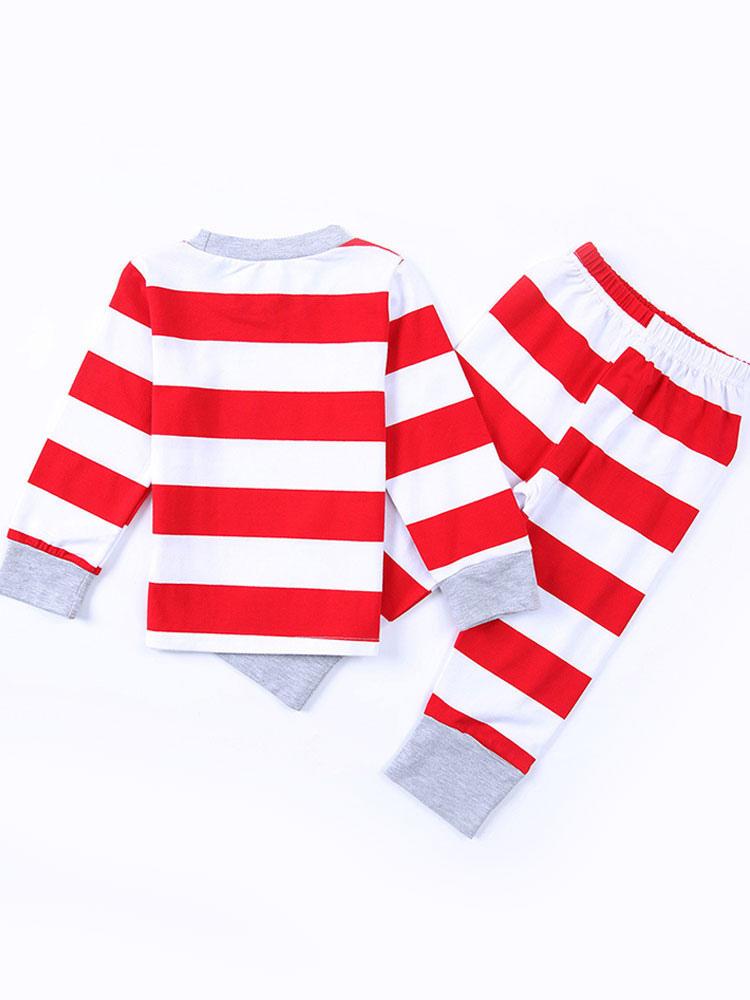 c520576487 ... Pijamas de Familia un Juego Navidad Niños Rojo Algodón Rayado Pantalones  y Top 2 Piezas Juego