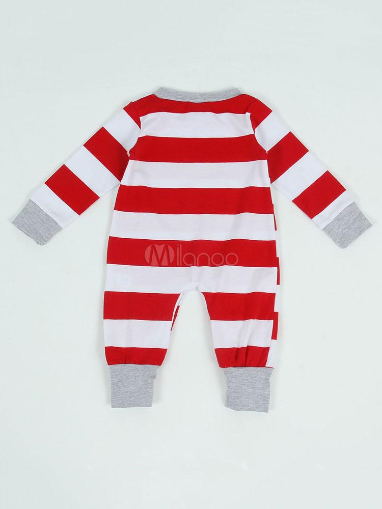 4771edf475 ... Pijamas de Familia un Juego Navidad Bebé Rojo Algodón Rayado Pantalones  y Top 2 Piezas Juego