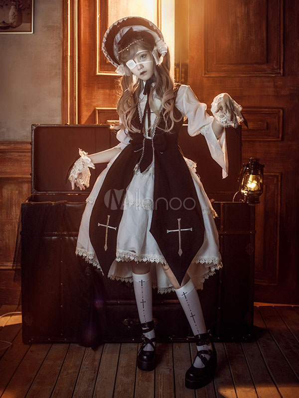 Gothic Lolita Outfit Cross Witch Embroidery Bow Black Lolita Set by Milanoo