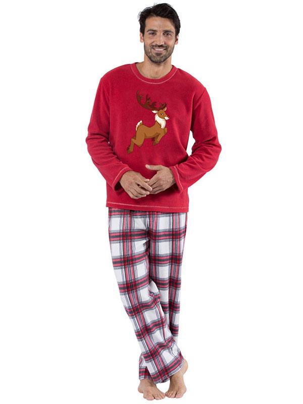 bc36f066cd un Juego de Familia Pijamas Navidad Padre Cuadros Rojos Reno Top y  Pantalones 2 Piezas Juego ...