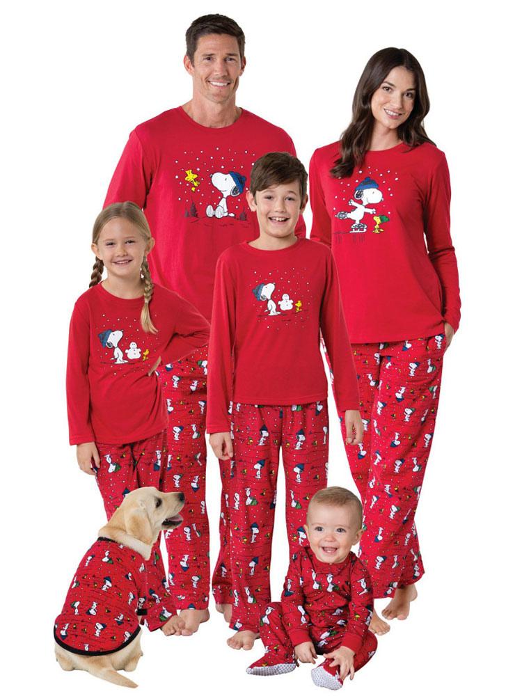 Un Juego De Familia Navidad Pijamas Ninos Rojo Impreso Top Y