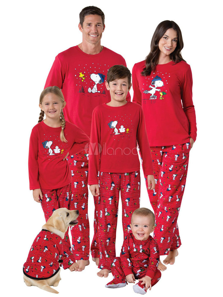 091094693fee Matching Family Christmas Pajamas Father Red Printed Top And Pants 2 Piece  Set For Men- ...